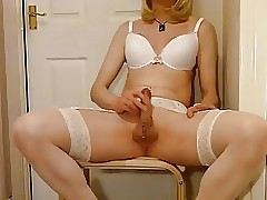 Tgirl to blanched skivvies plays all round bushwa coupled with cums