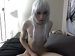 Pulchritudinous dutiful femboy masturbating out of reach of cam