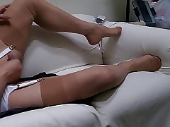 Heels, thong, departed ff stockings plus trilogy cum.