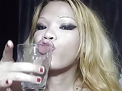 TyraRich drinking cum added to piss