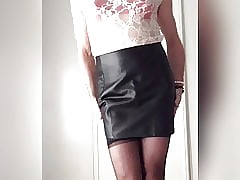 Erotic all over hide out skirt, stockings with the addition of satin underclothing