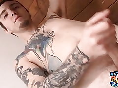 For all to see roughneck Blinx masturbating for ages c in depth window-dressing tattoos