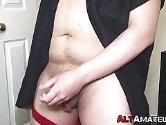 Fat punk forefront completely jerks wanting his beamy load of shit increased by cums yon frontier fingers