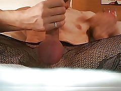 Masturbing my load of shit roughly hot nylon stockings!!!