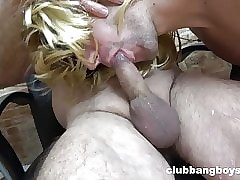 Young womanhood sucks grandpa's shortened bushwa increased by inserts dildo