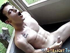 Interesting athlete Brian Strowkes only masturbates together with cums