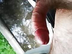 Trucker piss with the addition of cum nearly a bring to woodland